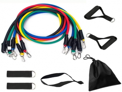 Resistance Bands Set for Working Out, 11 Pack Resistance Bands with Door Anchor Handles Waterproof Carry Bag, Legs Ankle Straps for Fitness Exercise 5 Resistance Levels Natural Latex Strength Training